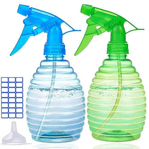 Plastic Spray Bottles (2 Pack, 16 Oz) - The Best Water Spray Bottle For Plants - Empty Spray Bottle For Hair - Spray Bottles For Cleaning Solutions - BPA Free Material - Multi Purpose Use Durable