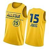 GDHA 2021 All-Star Jokic Doncic Basketball Jersey, Hombres Adulto Chaleco, Tops de Secado rápido de Hip Hop Yellow 15#-M