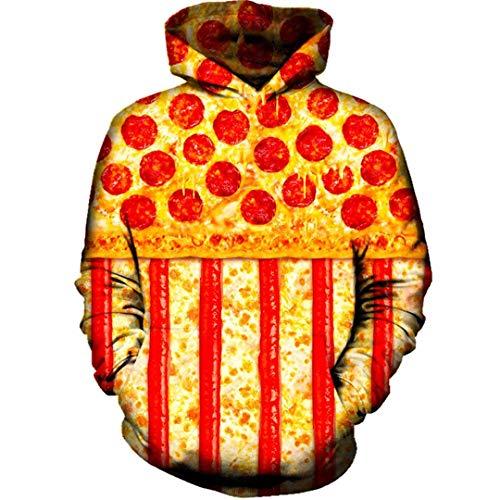 Bandera Americana Hombres Mujeres 3D de Manga Larga con Capucha de Pizza suter con Capucha del chndal Tops Hoodies Sweatshirts M