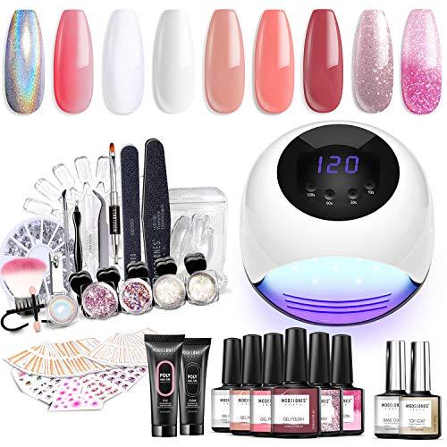 Modelones Gel Nail Polish Starter Kit with U V Light,84W UV/LED Lamp,Soak Off Poly Nail Gel Glitter Powder Manicure Tools, 6 Gel Polish 10ml