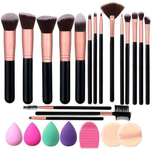Elisel Makeup Brush Set, 17 Pcs Makeup Brushes with 4 Makeup Sponge Blender 2 Makeup Powder Puff 1 silicone brush cleaner Make Up Brushes Kit (Rose Gold 17)