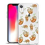 Unov Case Clear with Design Slim Protective Soft TPU Bumper Embossed Pattern [Support Wireless Charging] Cover for iPhone XR 6.1 Inch(Hanging Sloth)