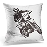 Emvency Throw Pillow Cover 18X18 Inch Polyester Pillow Case Bike Black Motorbike Dirt Motocross Motor Silhouette Action Dirt Bike Decorative Pillowcase Two Sides Square Print for Home Sofa