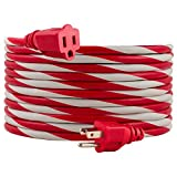 PHILIPS Red/White, 25 Ft. Outdoor Extension Cord, Use in Garage, Shed, Office or Home, Candy Cane, SPS1012CF/27
