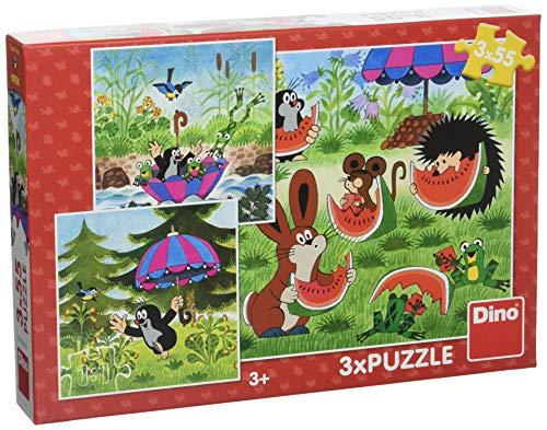 Dino Toys (DINR7) 335264 Dino-Puzzle Der kleine Maulwurf und der Regenschirm, 3 x 55 Teile, Mehrfarbig