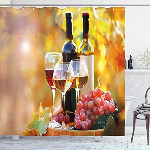 N \ A Cortina de ducha de vino, sabroso vino sobre barrica de madera en plantación de uva cosecha campo crecimiento rural, juego de baño con ganchos, 72 pulgadas de largo