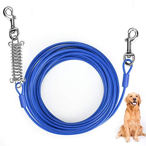 Ertisa Cable para Atar Perros, 33 pies (10 Metros) Cable de Amarre para Perros de hasta 176 Libras, Adecuado para Todas Las Razas (Azul)