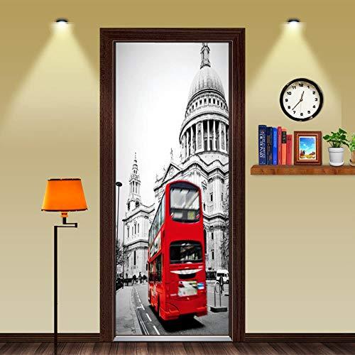 YSZM Türsticker Türen Aufkleber 3D Bauwagen 77X200CM Dekorative Büroheimanime-Landschaftsaufkleber tapezieren Selbstklebende Toilette der Karikaturküche Schlafzimmer wasserdicht