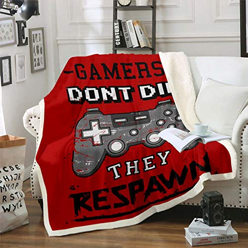 Erosebridal Video Games Sherpa Blanket Gamer Bed Blanket Boys Gamepad Flannel Blanket Gaming Controller Buttons Throw Blanket for Kids Teens Youth,Shabby Retro Grunge Style Grey, Red Queen