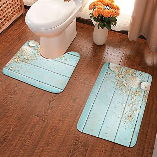 Sea Shell Beach Summer Starfish Board Bath Rugs Set of 2, U-Shaped Toilet Mat with Non Slip Backing for Bathroom Decor