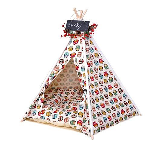 Ryan Tipi voor honden, kattenbed, wasbaar, zeildoek, katoen, voor kleine en middelgrote honden, tent voor dieren, vier seizoenen, universeel tapijt, pakket, L(60 * 60 * 70cm)