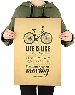 Life Is Like A Bicycle Funny Inspirational Quote Cafe Style Vintage Wall Poster