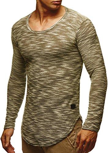 Leif Nelson Herren Pullover Rundhals-Ausschnitt Schwarzer Männer Longsleeve dünner Pulli Sweatshirt Langarmshirt Crew Neck Jungen Hoodie T-Shirt Langarm Oversize LN6358 Khaki Large