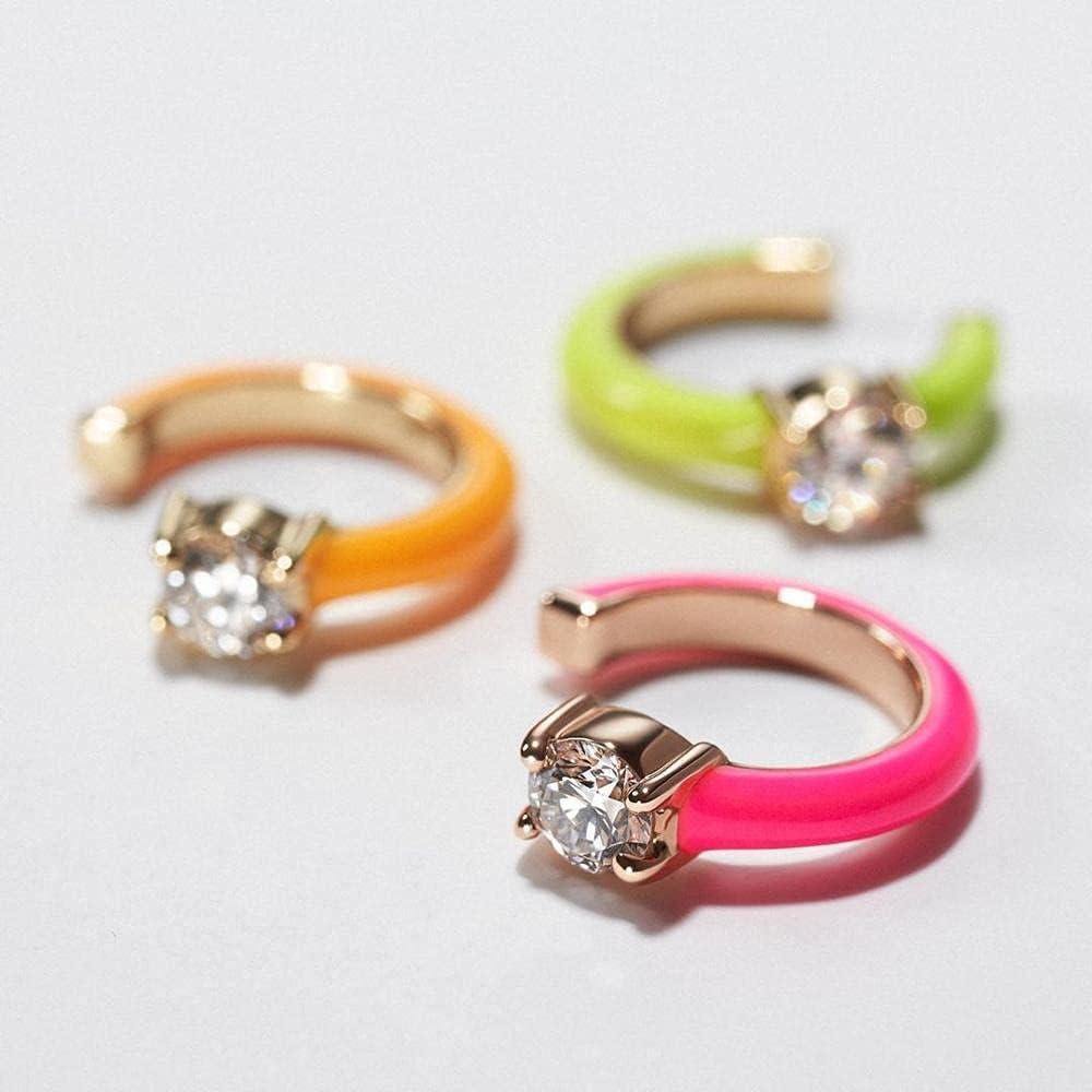 No Piercing Fashion Women Girl Jewelry Candy Rainbow Enamel Single White CZ Clip On Earring Ear Cuff