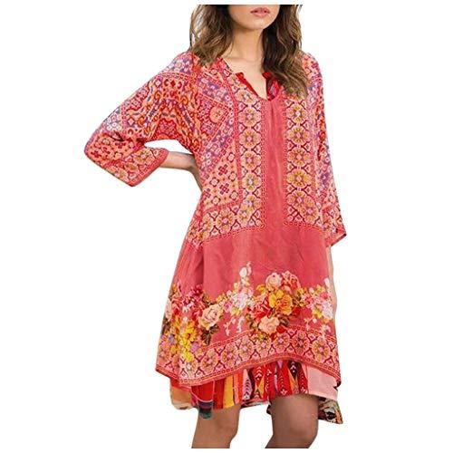 Willow S Women Fashion Casual Vintage Floral Printing 3/4 Sleeve V-Neck Loose Dress Orange