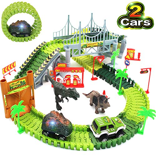 Bdwing Dinosaur Race Car Track Toys, Flexible Assembly Car Tracks Train Set for Boys Girls Toddlers and Kids (Extra 1 Set Traffic Signs) Best Gift for 2 3 4 5 Years Old…