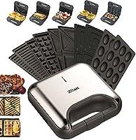 5-in-1 sandwichmaker, 800 W, 5 verwisselbare platen, wafelijzer, contactgrill, elektrische grill, multigrill,...