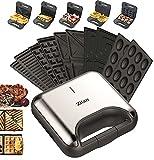 5in1 Sandwichmaker 800W 5 auswechselbare Platten Waffeleisen Kontaktgrill...
