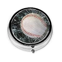 野球 ガラス ピルボックス丸型 円型 小物入れ 薬入れ くすり整理ケース ミニボックス ミニサイズ メタル収納ケース 携帯便利 軽量 薬箱シールピース収納装置 錠剤ケース