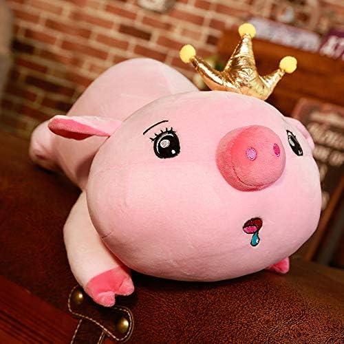 ZYYJG OrneHommests Simulation Créative en Peluche 3D Oreiller Porc Poupée Poupée Couronne Cochon Oreiller Jouet Blink Yeux 65cm