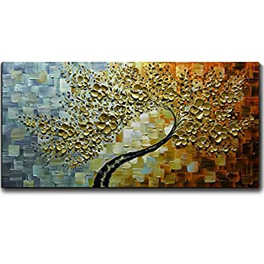 V-inspire Golden Flower Paintings, 24x48 Inch 3D Abstract Paintings Oil Hand Painting On Canvas Wood Inside Framed Ready to Hang Wall Decoration For Living Room Bed Room