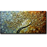 V-inspire Art,24x48 Inch Golden Flower Paintings 3D Abstract Paintings Oil Hand Painting On Canvas Wood Inside Framed Ready to Hang Wall Decoration for Living Room Bed Room