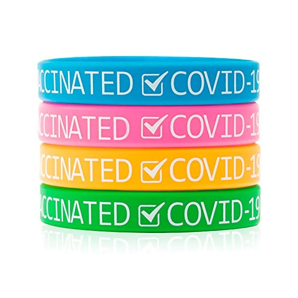 6sisc 48Pcs Vaccinated Silicone Wristbands Vaccinated Covid-19 Bracelets for Vaccination...