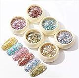 Chonor 6 Pezzi Set di Polvere Glitter per Unghie, Chiodo Paillettes Glitter Lustrini Decor...