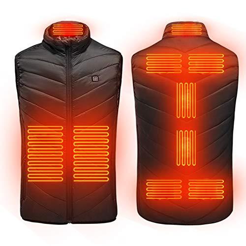 Q-YR Ligera Climatizada Chaleco Calefactable Caliente del Invierno Chaleco Escudo Zona 9 De Calefacción Ajuste De Temperatura De 3 Velocidades USB Eléctrico,1,4XL