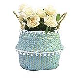 Szetosy - Cesta de junco para almacenamiento de Goodchance UK, con pompones. Cesta plegable tejida y con asa para ropa, juguetes, plantas o para usar en el cuarto del bebé, Estilo#2, 27x24cm