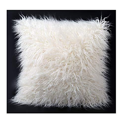 Q.Kim - Housse de coussin décorative en fausse fourrure de Mongolie, ultra-douce, blanc, 24\