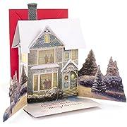 Hallmark Christmas Pop Up Card with Light and Song (Displayable Dimensional Thomas Kinkade House Plays We Wish You a Merry Christmas)