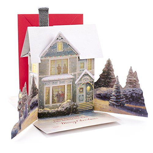 Hallmark Christmas Pop Up Card with Light and Song (Displayable Dimensional Thomas Kinkade House Plays We Wish You a Merry Christmas)