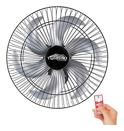 Ventilador de Parede 50cm 6 Pás Preto/Prata Turbão Controle Remoto