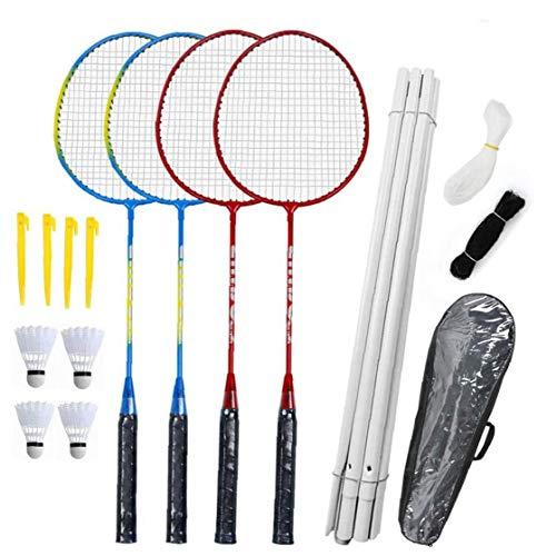 Badmintonschläger Set-4 Person Badminton Set Mit Net Für Garten Easy Setup Badminton-Set Für Erwachsene Kinder Kinder Familie