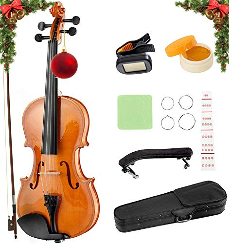 LAGRIMA 4/4 Beginner Violin,Violin Notes Sticker, Handcrafted Acoustic Violin Starter Kit, Case, Bow, Tunner,Rosin and Chin Rest