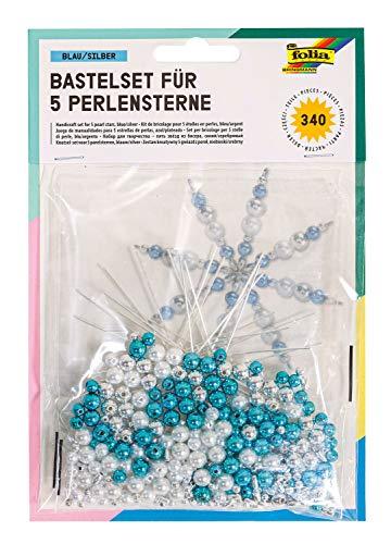 folia 12530 - Bastelset für 5 Perlensterne, blau / silber / perlweiß - ideal als selbstgemachte Dekoration für Weihnachten