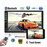 Podofo Autoradio mit Rückfahrkamera, Bluetooth, 17,8 cm (7 Zoll) Touchscreen, Autoradio MP5 Player, TF, USB, FM-Radio, Auto-Media-Player mit iOS/Android Mirror Link
