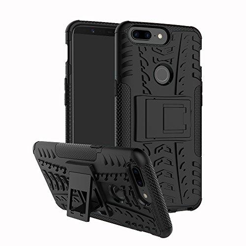 LiuShan Oneplus 5T Hülle, Dual Layer Hybrid Handyhülle Drop Resistance Handys Schutz Hülle mit Ständer für Oneplus 5T Smartphone (mit 4in1 Geschenk verpackt),Schwarz