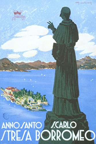 San Carlone Lake Maggiore Italy Vintage Travel French Cool Wall Decor Art Print Poster 24x36