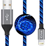 iPhone Charger Cable, iCrius [MFi Certified] 6ft LED Light Up Visible Flowing Lightning Charger Charging Cord Compatible iPhone11 Plus/XS/XR/X /8 Plus / 8/7 Plus / 7, iPod Touch More-Blue