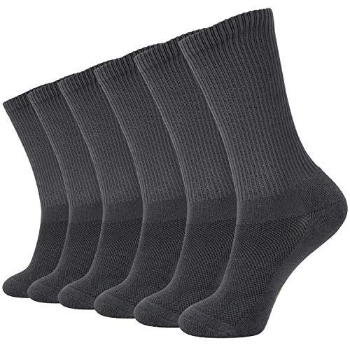 +MD 6 Pares de Confortables Calcetines Unisex en Fibra de Bambú Calcetines de deporte medias GRY L(43-46EU/10-13US)