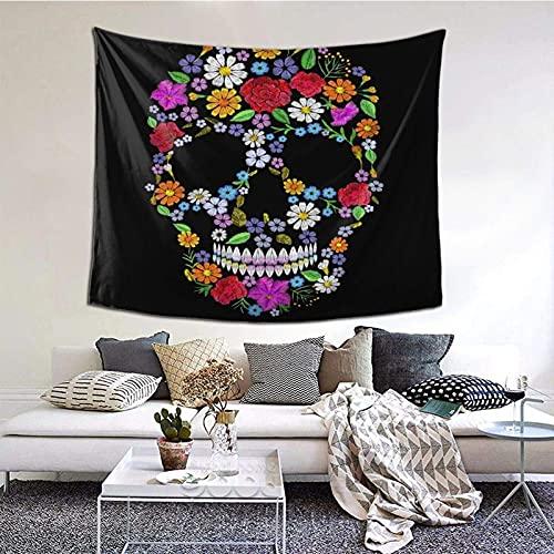 Tapiz para colgar en la pared, diseño vintage, bordado con calavera, muertos, vacaciones, naturaleza, pared, decoración del hogar, 152 x 130 cm