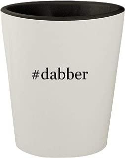 #dabber - White Outer & Black Inner Hashtag Ceramic 1.5oz Shot Glass