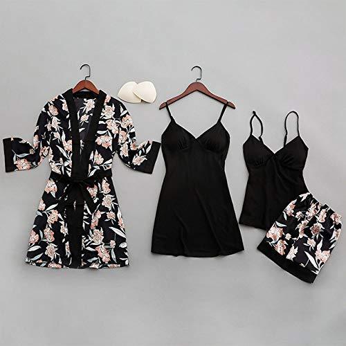 JFCDB Zomer pyjama,Zomer Sexy Dames Pyjama met Borstkussentjes Print Dames Nachtkleding Vierdelige Riem Satijnen Pyjama, Zwart, M