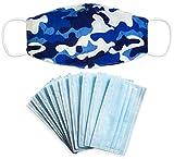 SH M188 Masque de bouche et de nez en coton 2 couches avec 10 filtres 3 couches lavables à 60 °C, Camouflage bleu.
