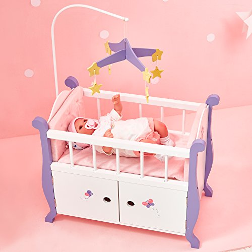 Olivia's Little World Baby Doll Wooden Cot Bed Crib & Storage | Doll...