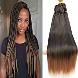 BEFUNNY Braiding Hair,Pre Stretched Braiding Hair, 24 Inch 8 Packs Prestretched Synthetic Braiding Hair,Mix Colored Black/Brown Professional Hair Extension For Women Crochet Twist Braids,Yaki Straight,Hot Water Setting, Itch Free(24', T1B/30#)