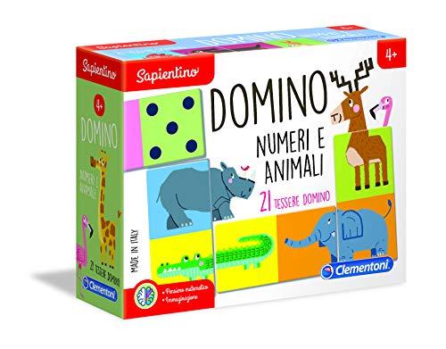 Clementoni Sapientino Domino Numeri e Animali, gioco educativo 4 anni con tessere illustrate, domino bambini, gioco per imparare a contare, Made in Italy, 16121