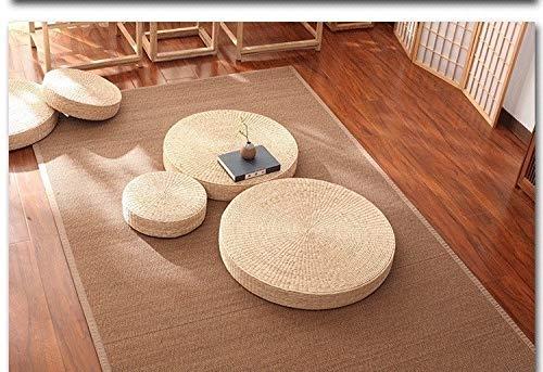 ZLSP Suelo de la paja del amortiguador, Ronda Espesar futón cojín del asiento del amortiguador, meditación tatami natural del amortiguador, for el Meditate Suelo de estar Decoración almohada rellena d